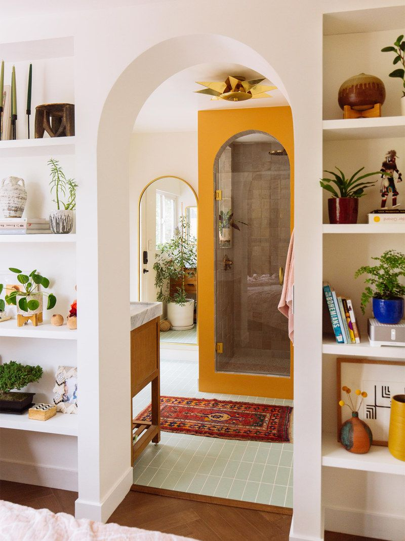 bathroom architecture//arched shower entry