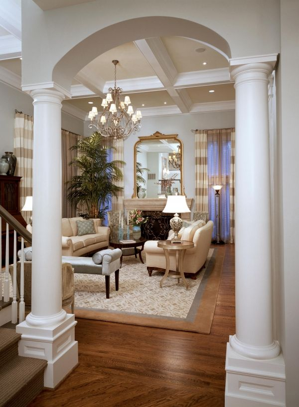 Living Room Designs With Columns : Love the chandelier and everything else about this room