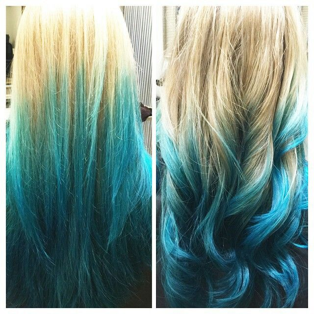 turquoise blonde blue ombre hair