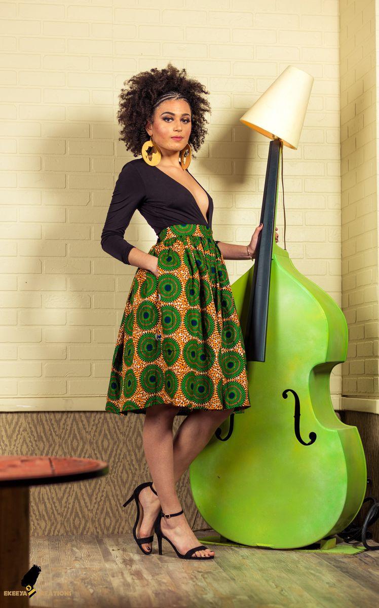ekeeya creations jupe mi longue disques verts tissu africain jupe mi longue taille haute wax. Black Bedroom Furniture Sets. Home Design Ideas