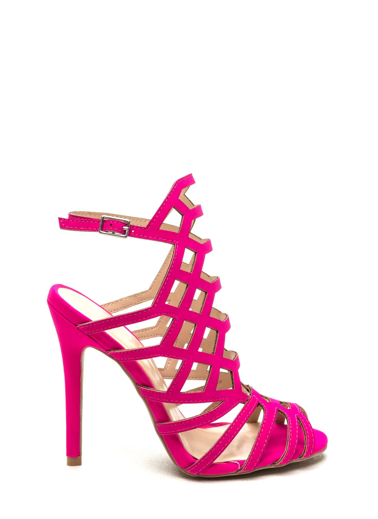 Pink strappy high heels, Pink strappy