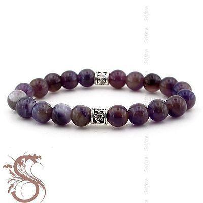 Womens-Bracelet-Genuine-Purple-Amethyst-Calming-Gemstones-Charm-Beads-B-805