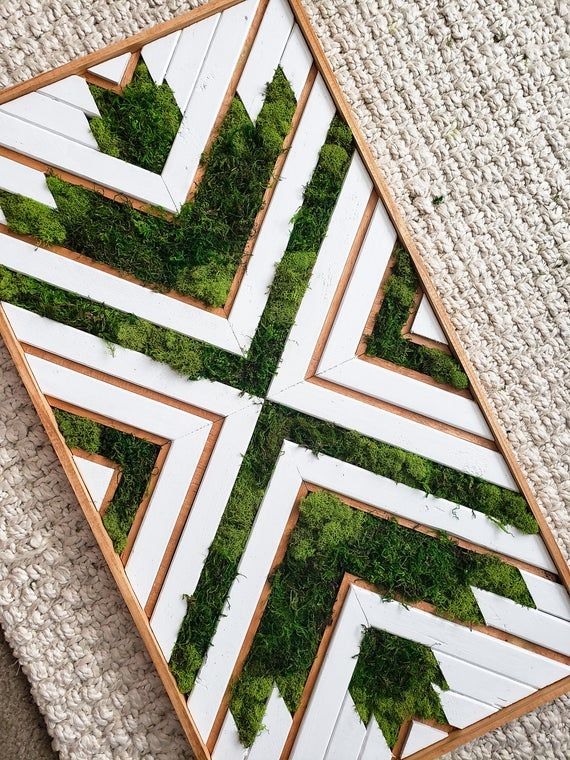 Bayou Natural - Reclaimed Wood Art - Moss Wood Art - Preserved Moss Wood Art - Wood Wall Hanging - Geometric Wood Art - Boho - Farmhouse