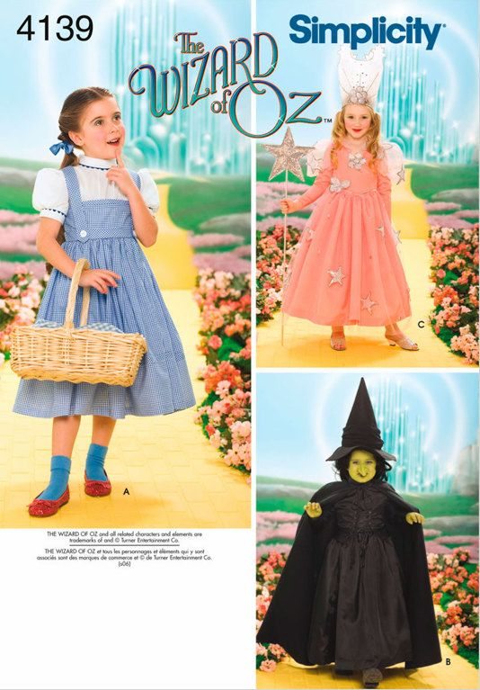 Wizard Of Oz Halloween Costume Sewing Pattern Dorothy Wicked Witch