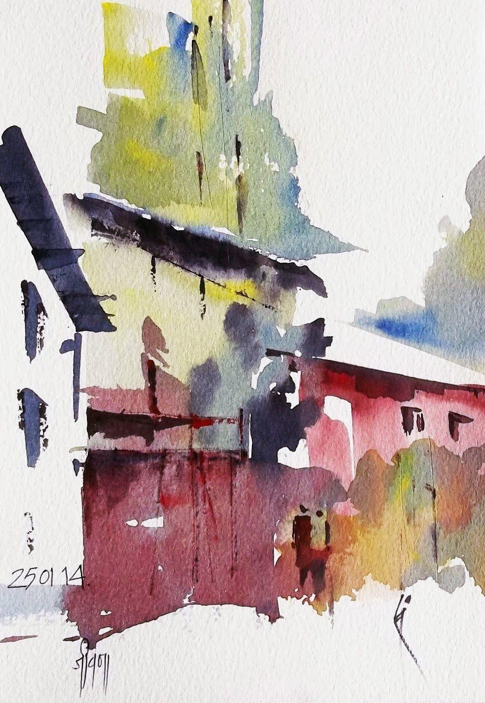 Urban Sketchers Sanjeev Joshi Watercolor Landscape Watercolor