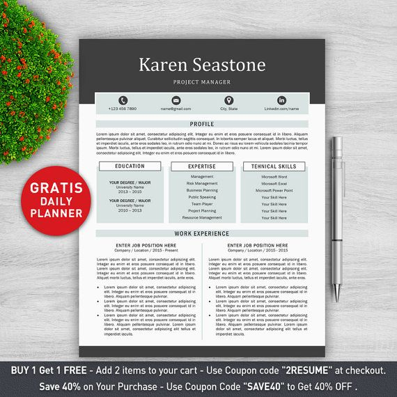 Modern Resume Template / Professional Resume Template for Word +