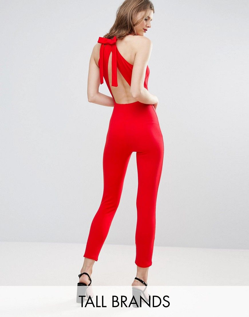 2468eb037fd Oh My Love Tall Jumpsuit With Bow Back - Red