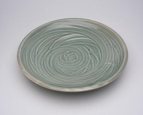 Celadon Slip Trailed Plate  Handmade  9.25 by ChrisGamblesPottery