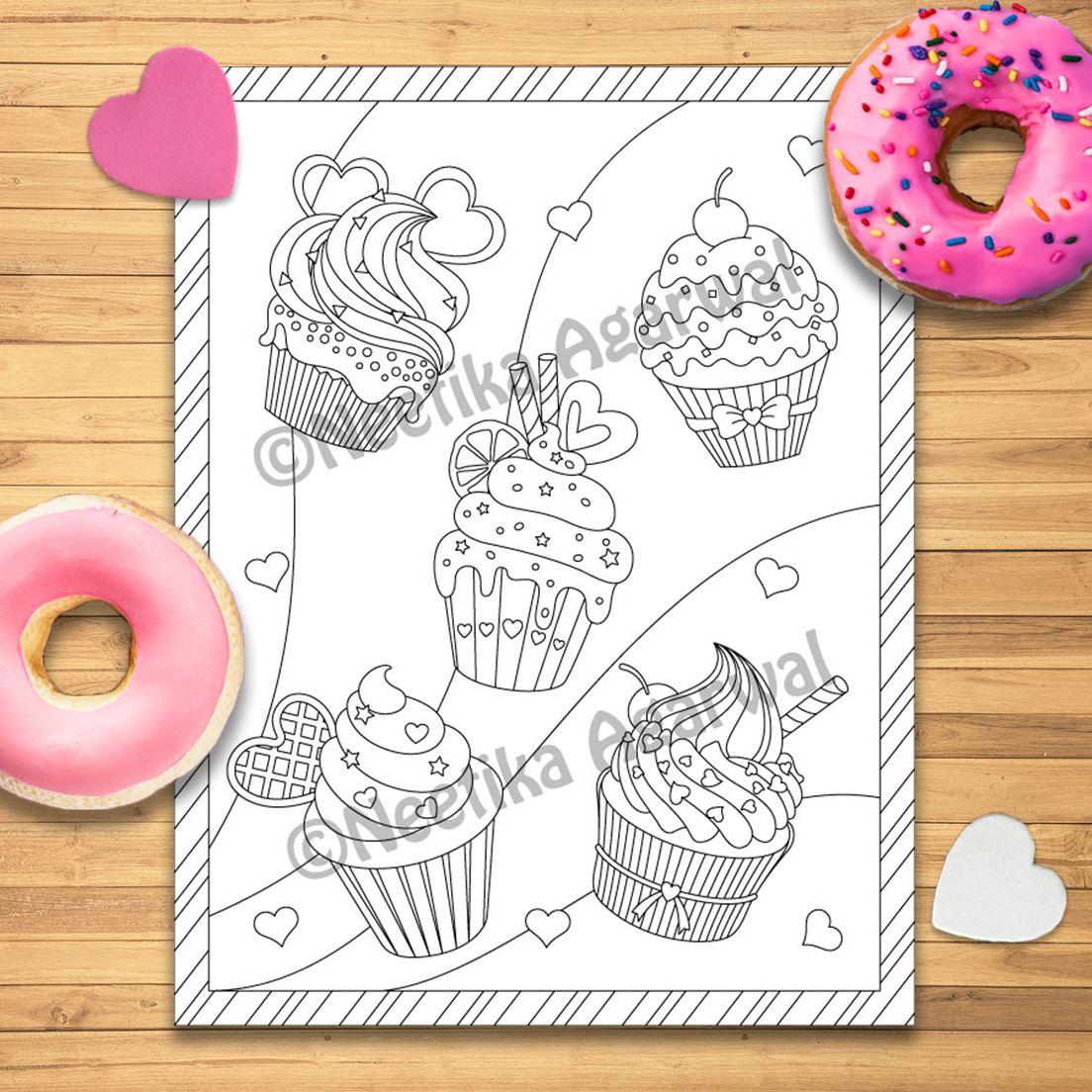 Valentine Cupcakes Valentine Adult Coloring Page