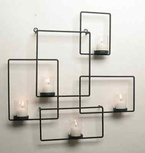 Black Iron Wall Puzzle Candle Holder Glass Votive Holder Sconce ...