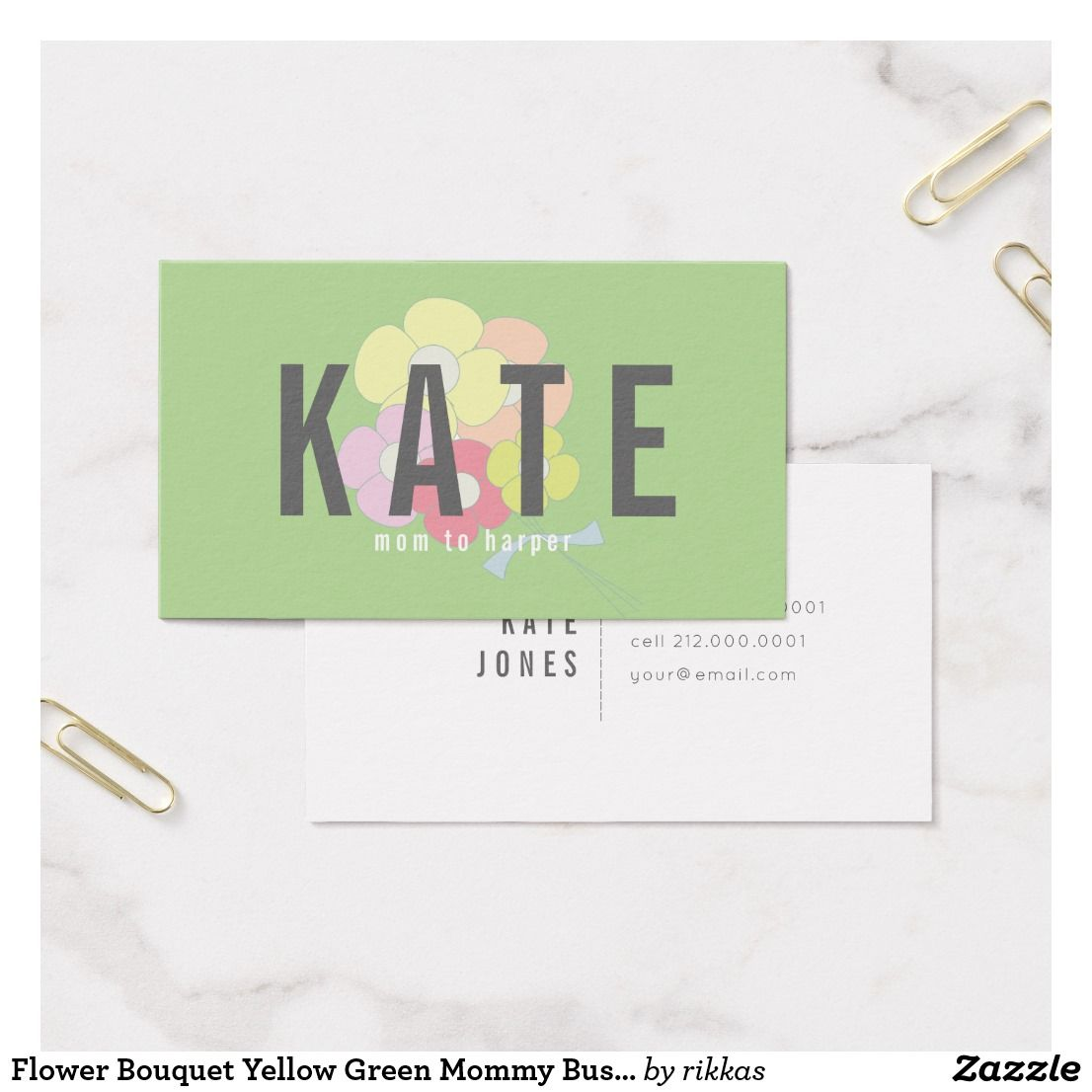 Flower Bouquet Yellow Green Mommy Business Card | Flower bouquets ...