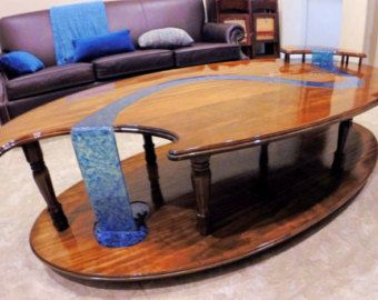Waterfall Coffee Table Resin Furniture Wood Table Design Wood
