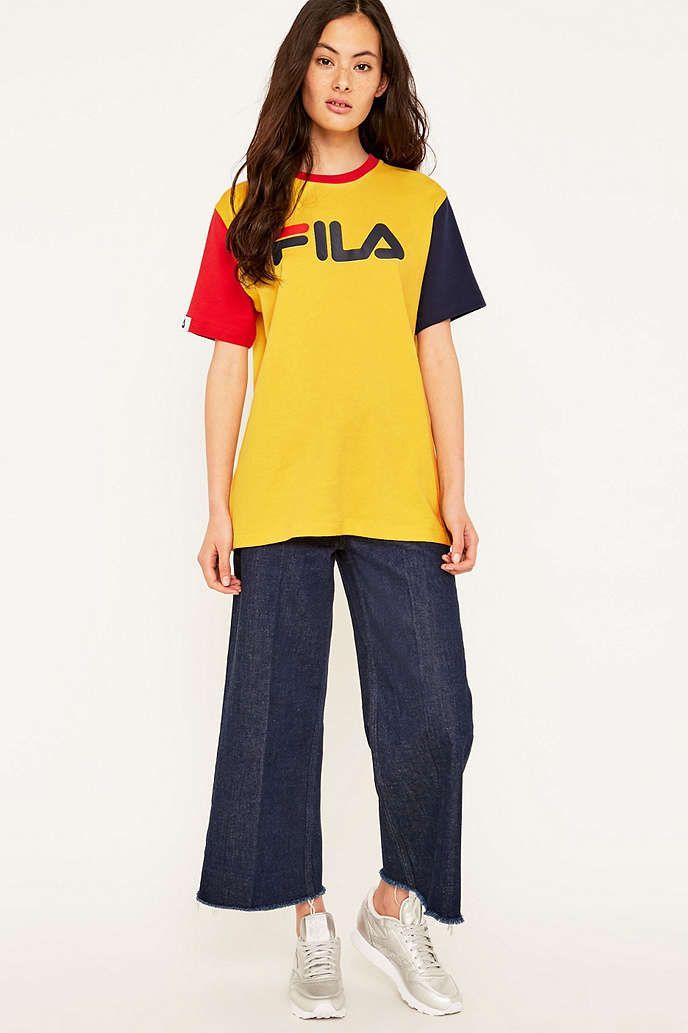 fila yellow top. fila - t-shirt boyfriend massa jaune yellow top a