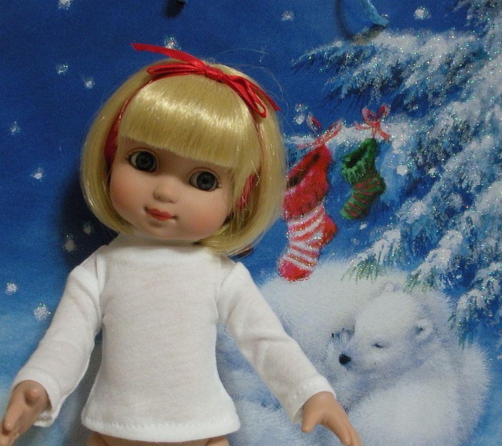 """Fits 10"""" Tonner Ann Estelle Doll ... White Long Sleeve T-Shirt . D195 #Handmadefor10InchAnnEstelleDoll"""