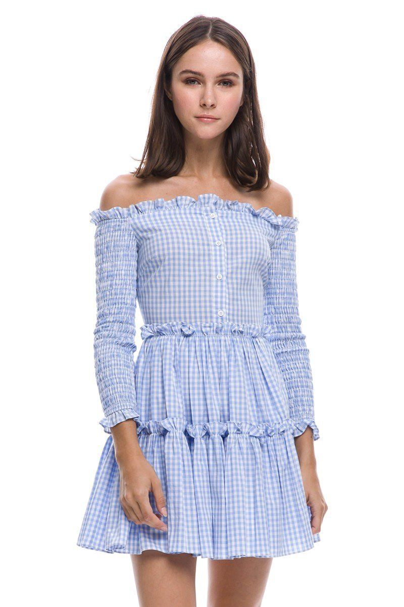 'randie' off the shoulder gingham ruffle dress | Dresses ...
