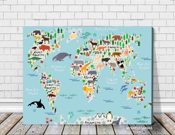 Animals World Map Canvas Prints | For Children And Kids Room World Map  Canvas Print | Nursery Canvas Wall Art | Cartoon Animals Map Canvas