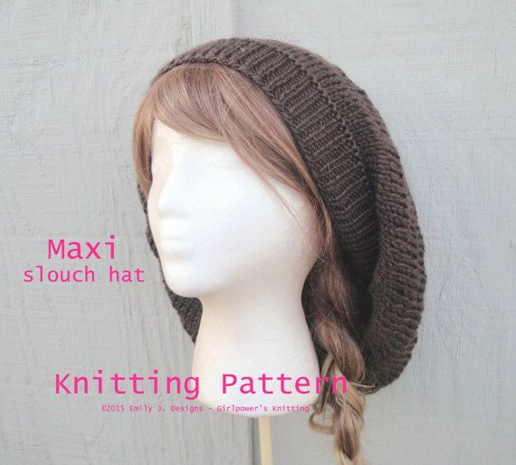Maxi Slouch Hat Knitting Pattern Slouchy Beanie Beret By Girlpower