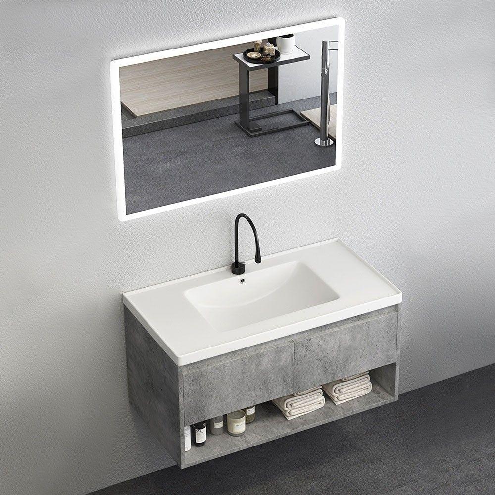 Modern 24 36 40 Gray Floating Bathroom Vanity Wall Mount Ceramics Single Sink Vanity With Drawers Shelf In 2020 Floating Bathroom Vanities Modern Bathroom Modern Master Bathroom