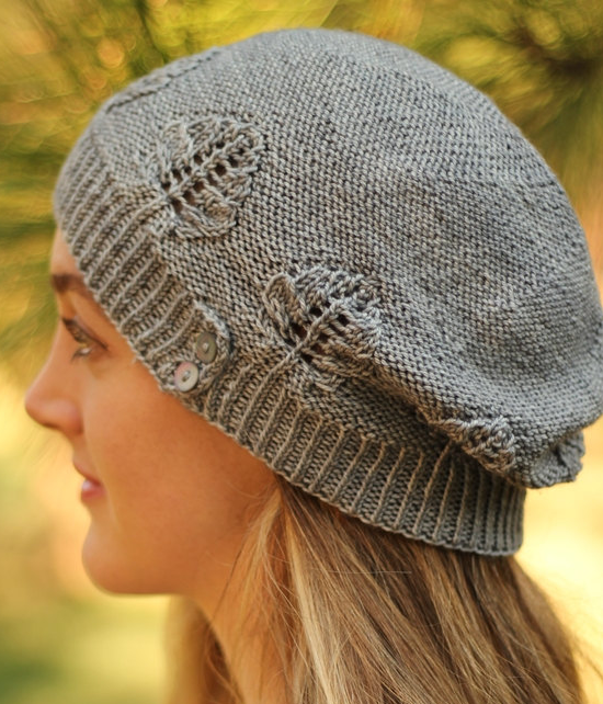 19739121f44 Knitting Pattern Cold Creek Hat -  ad Slouchy hat features aspen leaf lace  motifs. More pics on Etsy tba