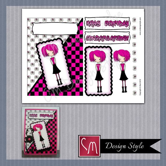 Teenager Emo or Goth Girl Birthday Card Kit DIY Printable – Emo Birthday Cards