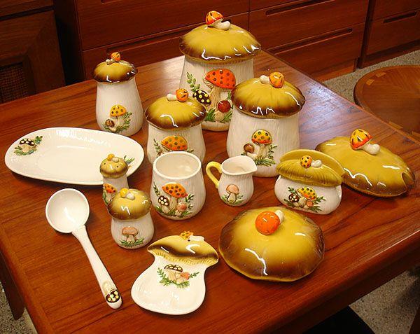 Merry Mushroom Vintage 1970s Kitchenware Set Kitchenware Set Mushroom Decor Vintage Dishes