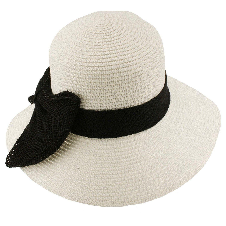 Summer Big Ribbon Bow Floppy Bucket Cloche Sun Beach Hat Cap Adjustable -  White - CR11JRBZA9F - Hats   Caps 37c84160303