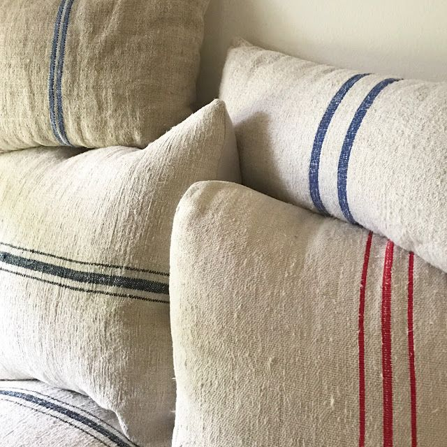 little farmstead diy grain sack pillows and where to buy. Black Bedroom Furniture Sets. Home Design Ideas