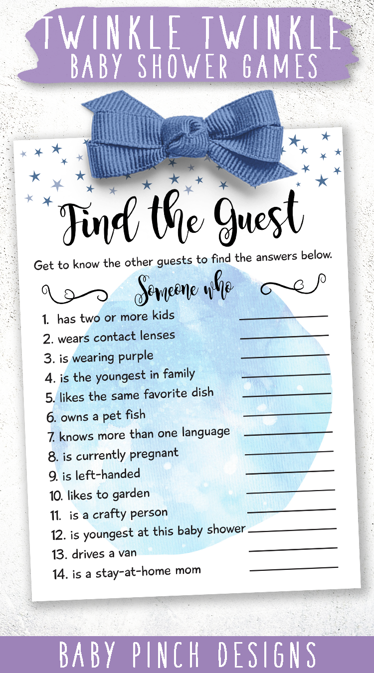 Boy Baby ShowerGame, Find the Guest, A Pretty Moon and Stars and Twinkle Little Star Watercolor Design