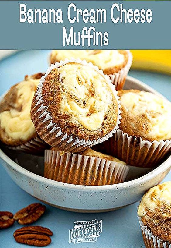 Banana Cream Cheese Muffins combine a super moist #banana #cake base swirled with cool and tart cream cheese. #Simple and #easy #dessert and #snack #recipe, especially for #breakfast or #brunch, to use up your overly ripe bananas and #pecans. Tasty, popable #muffins that are great any time of the year. For more breads  muffins visit www.dixiecrystals.com. #dixiecrystals #creamcheese #bananacream