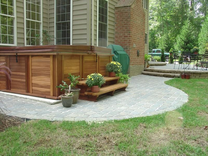 Concretepaver idea for under hot tub Outside Our Home Pinterest
