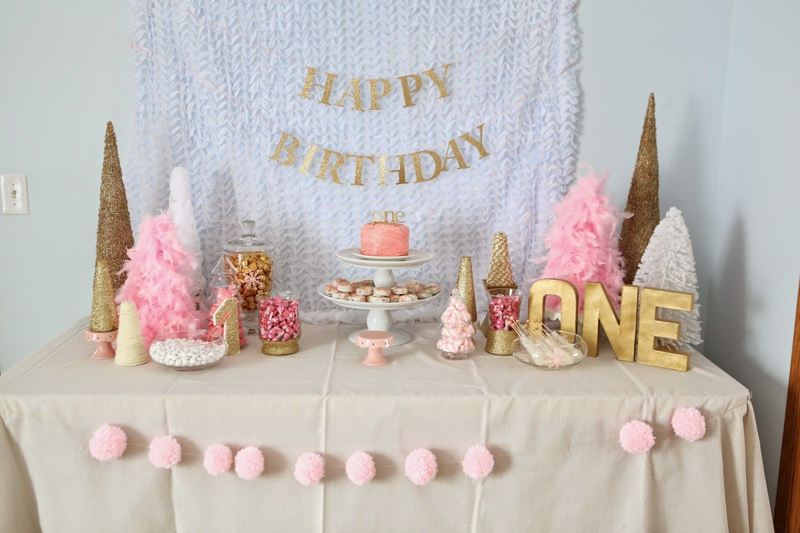 Pink And Gold Winter Wonderland First Birthday Party 1st Birthday Decorations First Birthdays First Birthday Parties