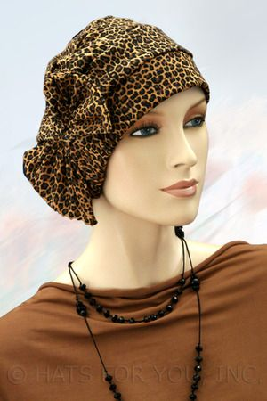$18.50 - Animal Print Crinkle Two Way Cap #cancer #chemo #hairloss