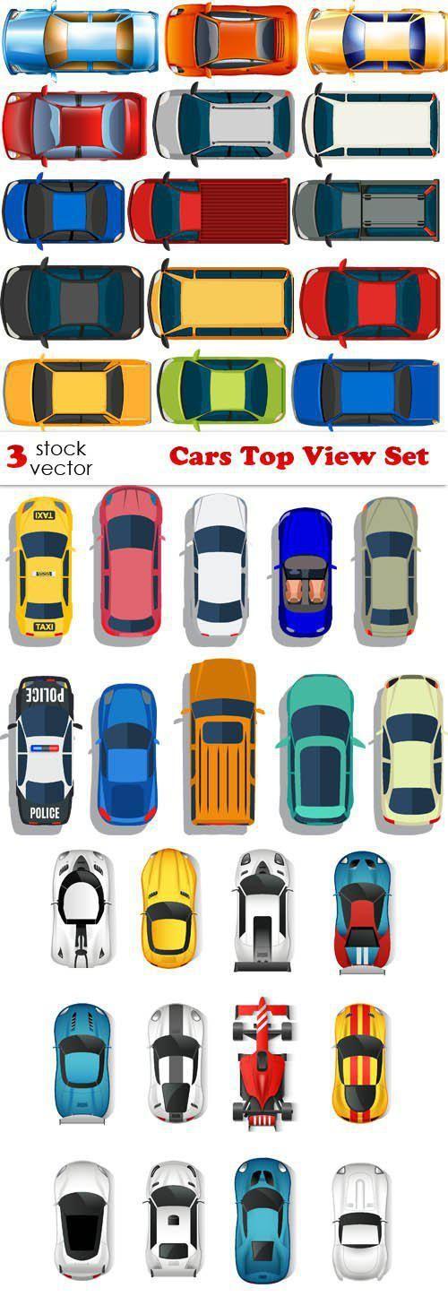 Vectors Cars Top View Set Car top view, Pixel art