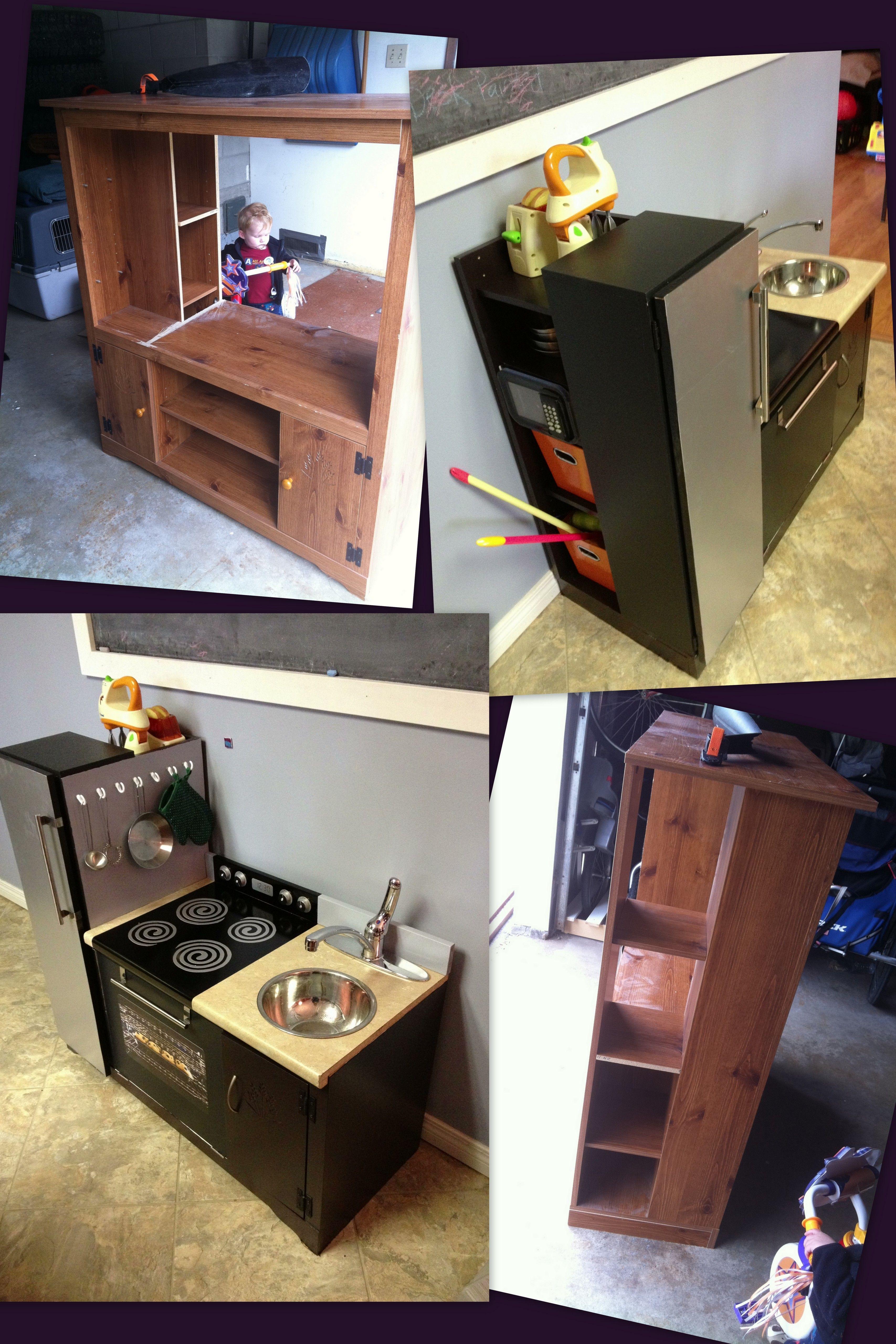 transformed old entertainment center into kids kitchen set! we