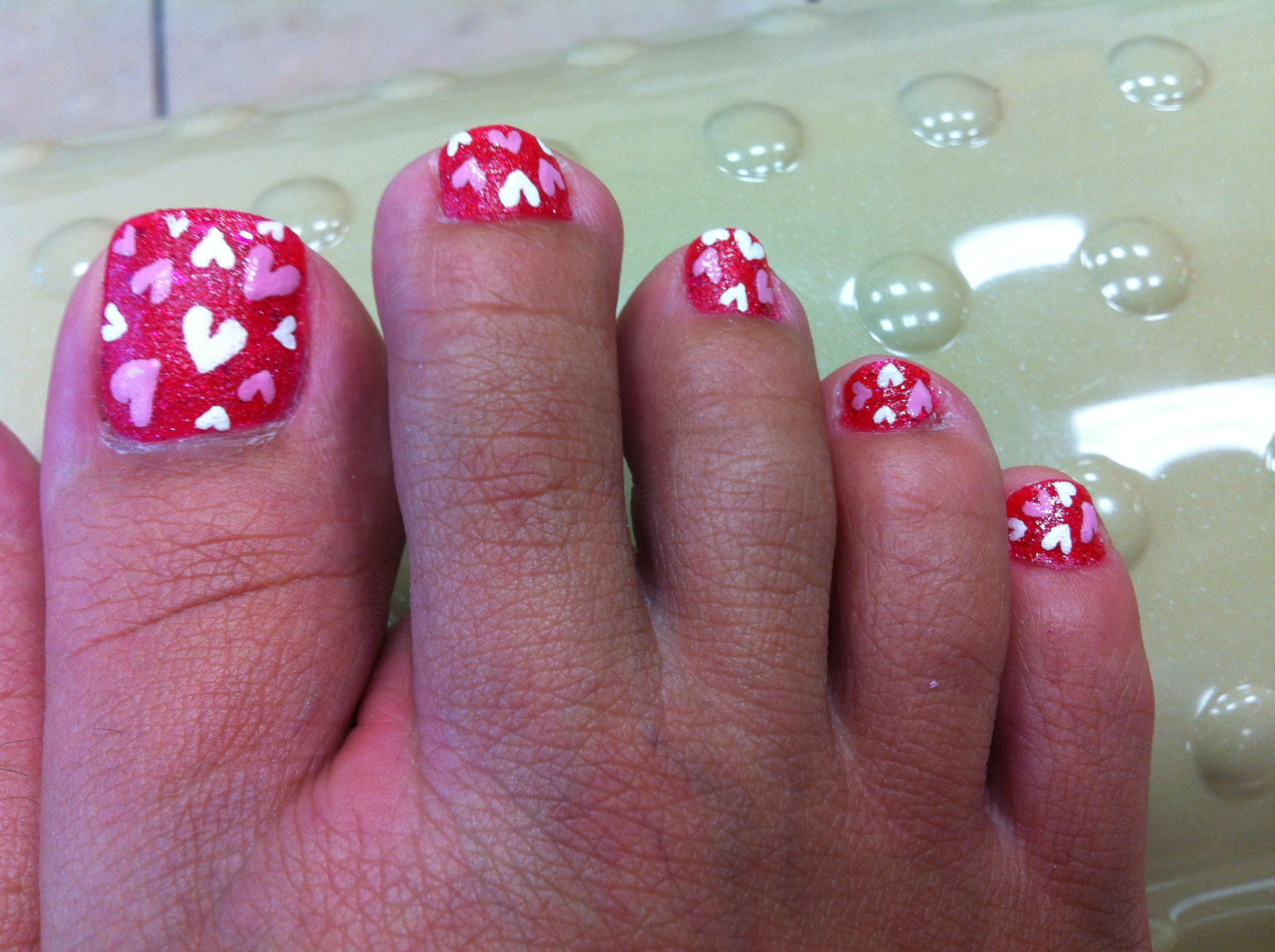 I just finished, My Valentine\'s Day toe nails...with the new OPI ...