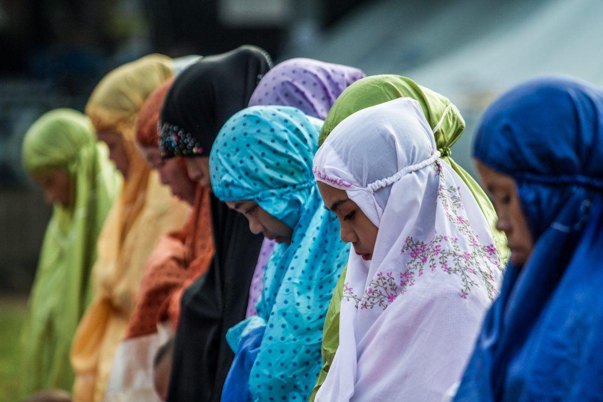 Filipino Muslim Women in Hijab, Veil attend prayers.