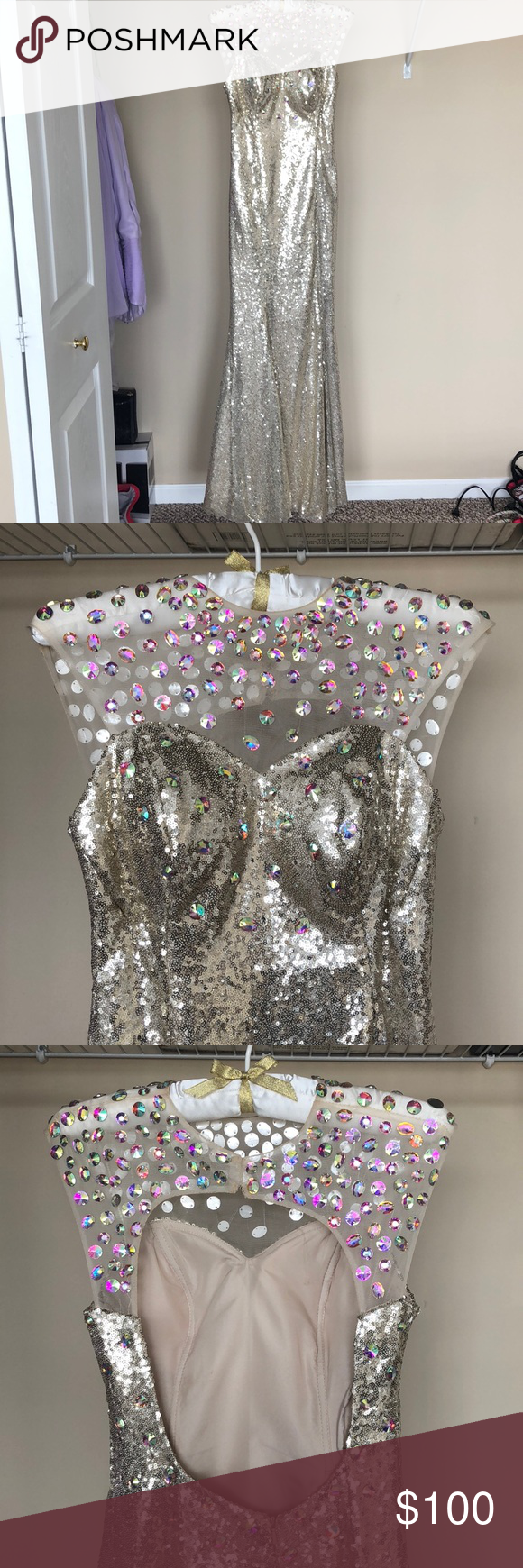 Full sequin prom dress size my posh closet pinterest dresses