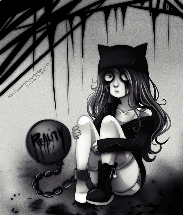 reality emo gothic anime art sadness alone kitty hat