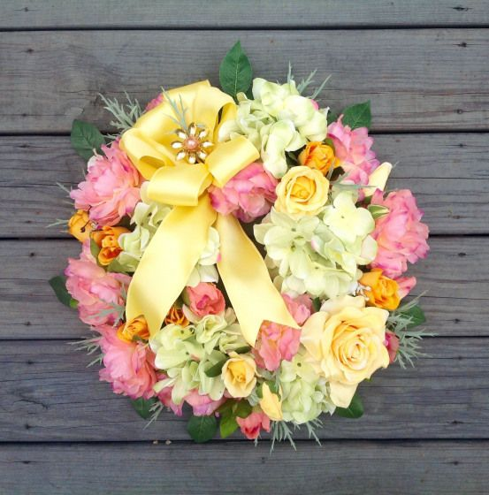 Spring Wreath Easter Wreath Mothers Day Wreath gift for her front door Wreath floral decor wedding decor Grandmother gift romantic by MariangeliDesigns on Etsyspringwreat...
