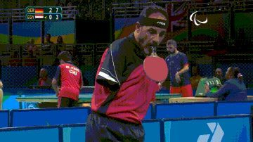 Playing table tennis without any hands at the 2016 Paralympics. Wow. http://ibeebz.com
