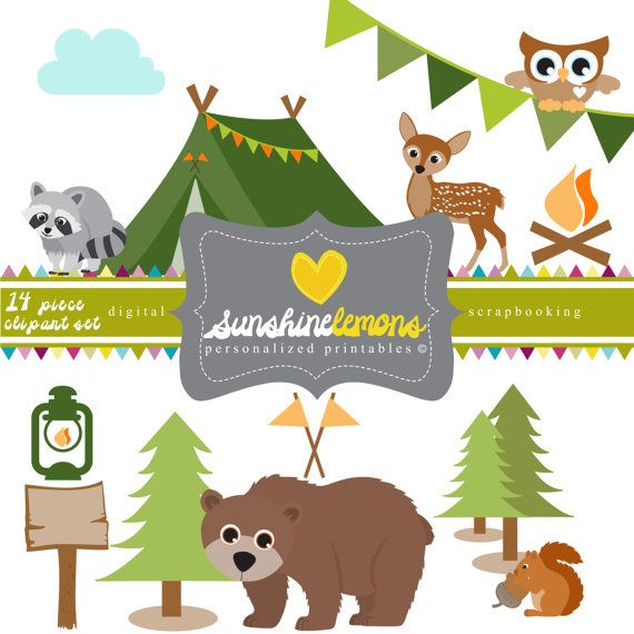 Camping woodland. Campout clipart