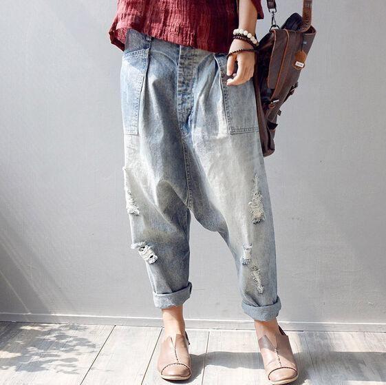 2139a497a76 Denim Women Trousers Baggy Loose Low Rise Jean Holes Hot Sale Pant Leisure
