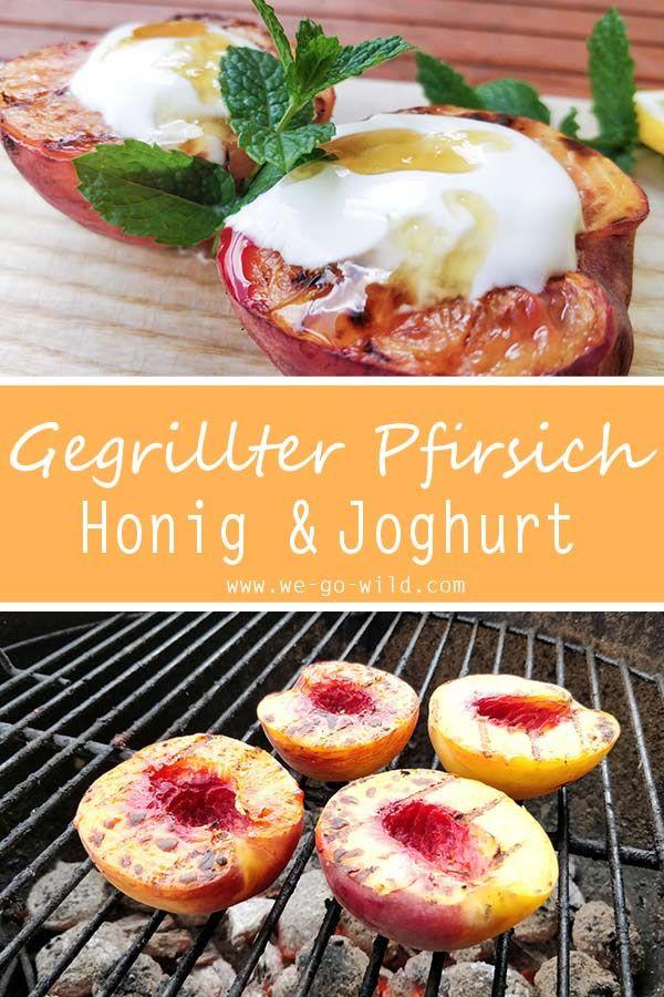 Gegrillte Pfirsiche mit Joghurt und Honig #grilleddesserts