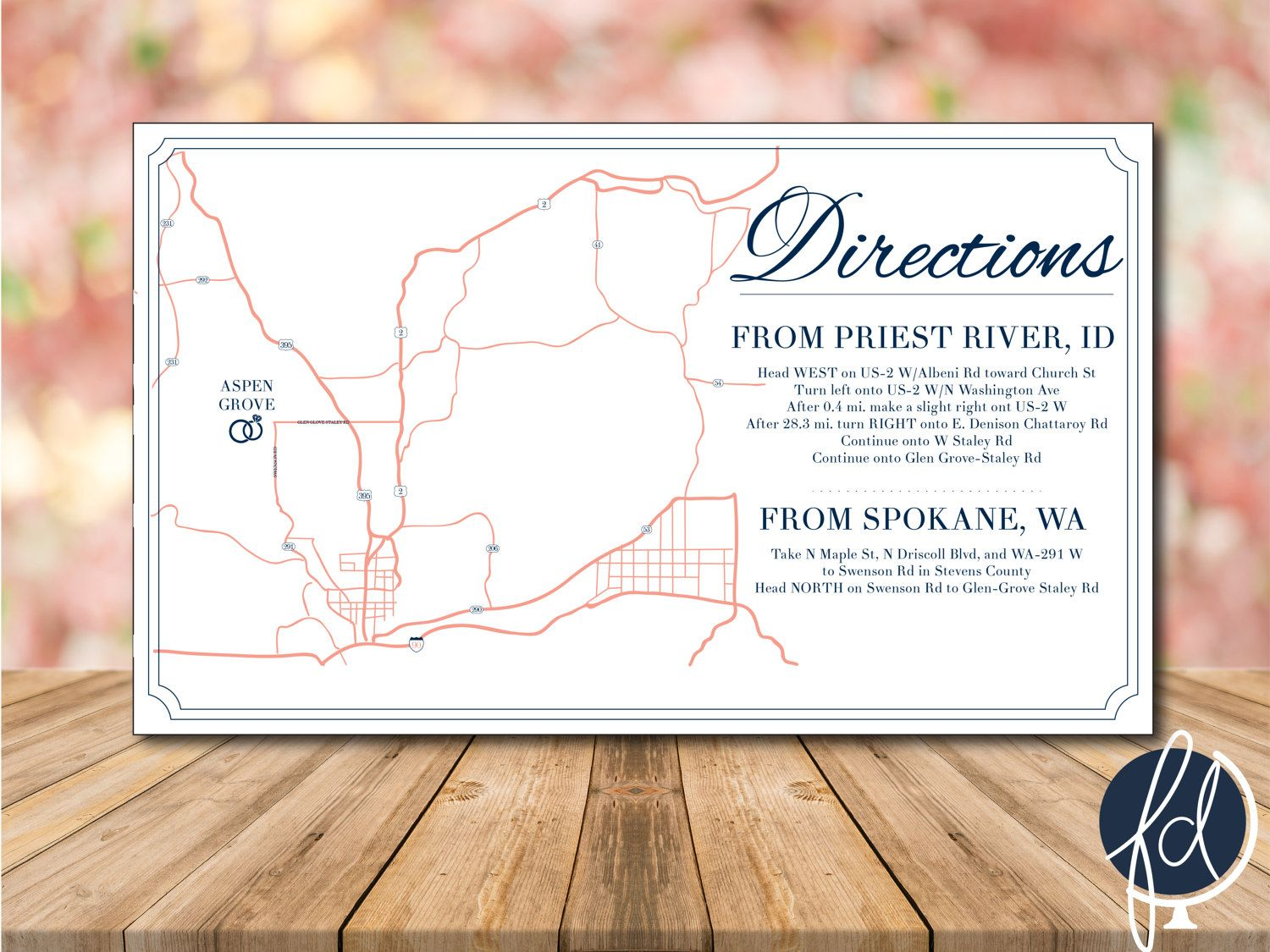 Directions Card, Custom Wedding Map, Details Card, Invitation Map