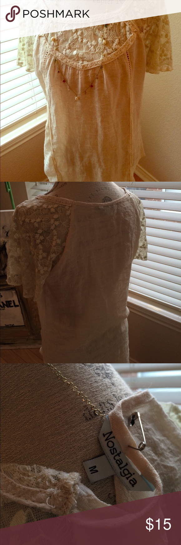 Nostalgia Sheer Lace Blouse Beautiful Lace top Blouse top of blouse and sleeves  are lace . Medium size Nostalgia Tops Blouses
