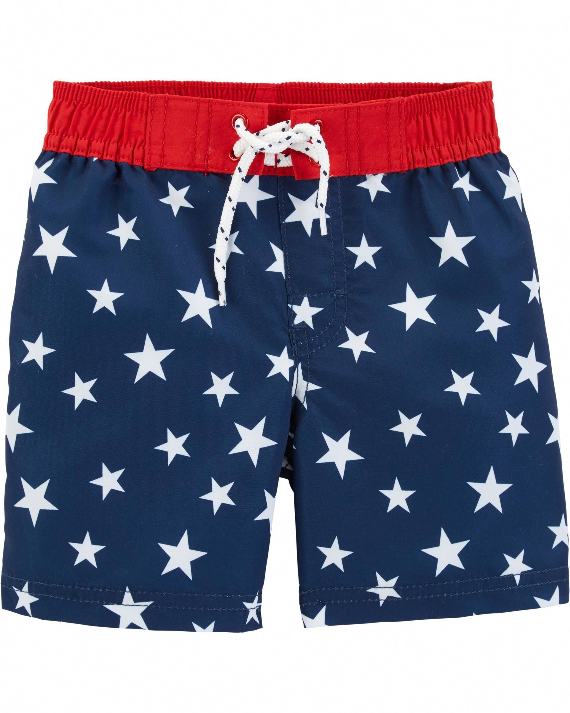 Osh Kosh Bgosh Boys Navy Blue Hawaiian Print Swim Trunk