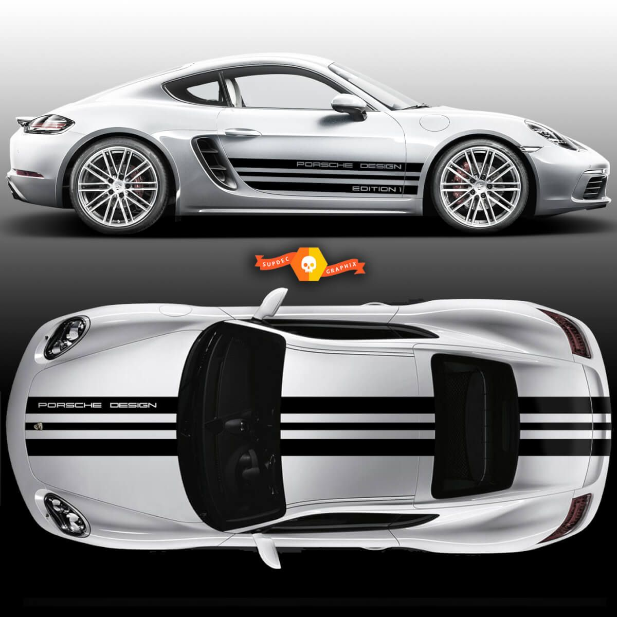One Color Sport Cup Edition 1 Graphic Decals Kits Racing Stripe Over The Top Roof Porsche And Racing Stripes For Carrera Or Any Porsche Vinilos Para Autos Vinilos Autos [ 1200 x 1200 Pixel ]