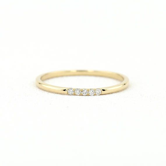 14k Gold Diamond Wedding Band 5 Stone Yellow Gold Micro Pave Etsy Pave Diamond Wedding Bands Gold Diamond Wedding Band Bracelets Gold Diamond