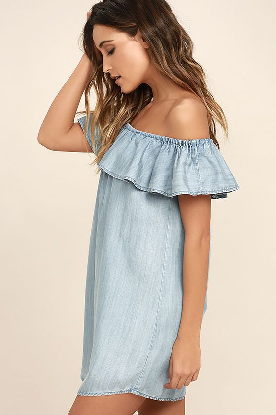 cc6b4141751a All it takes to win our hearts is an appearance in the Standout Style Light  Blue Chambray Off-the-Shoulder Dress! A feminine ruffle lays below an  elastic
