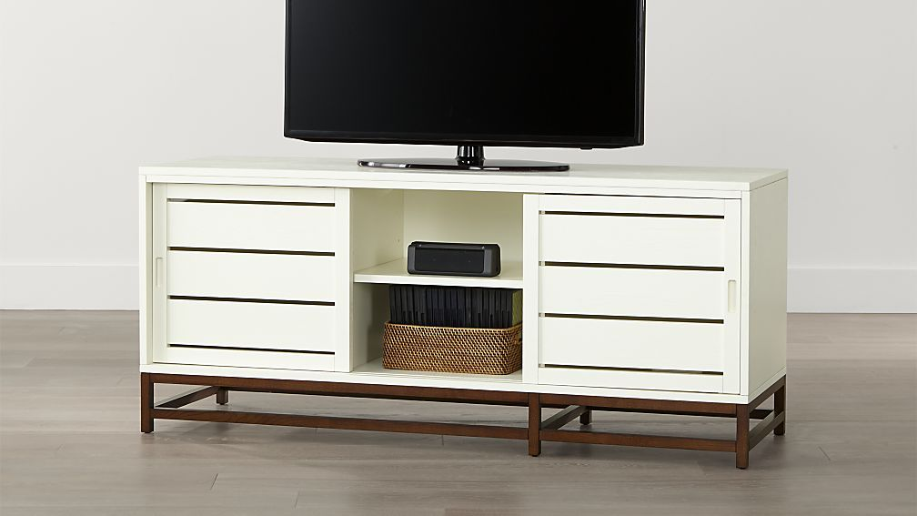 Clapboard White 60 Media Console Crate And Barrel 599 00 Less